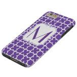 Monograma púrpura personalizado Quatrefoil Funda De iPhone 6 Plus Tough