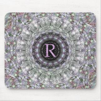 Monograma púrpura R de la estrella de la onda Tapete De Ratones