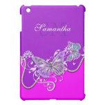Monograma púrpura rosado de la mariposa iPad mini funda