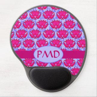 Monograma púrpura rosado fucsia del damasco de Nou Alfombrilla De Ratón Con Gel