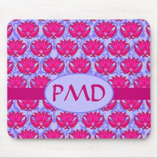 Monograma púrpura rosado fucsia del damasco de Nou Alfombrillas De Ratones