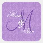 Monograma púrpura S530A del boda del damasco de la Calcomanías Cuadradas Personalizadas