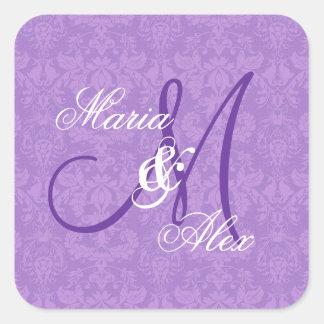 Monograma púrpura S530A del boda del damasco de la Pegatina Cuadrada