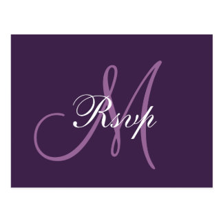 Monograma púrpura simple RSVP del boda Postales