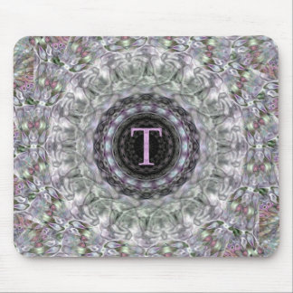 Monograma púrpura T de la estrella de la onda Tapetes De Ratón