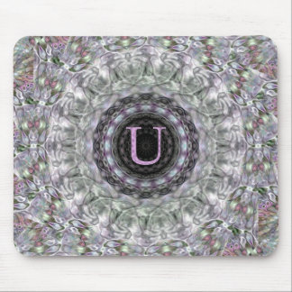 Monograma púrpura U de la estrella de la onda Alfombrillas De Ratón