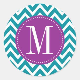 Monograma púrpura y azul del personalizado de pegatina redonda