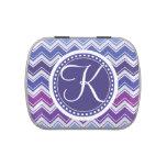 Monograma púrpura y azul K de Chevron del zigzag Frascos De Dulces