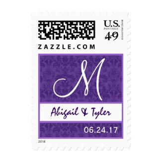 Monograma púrpura y blanco B706 del damasco del Estampillas