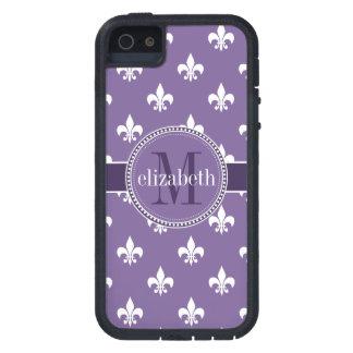 Monograma púrpura y blanco de la flor de lis iPhone 5 Case-Mate coberturas