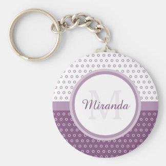 Monograma púrpura y blanco de la MOD de los Llavero Redondo Tipo Pin