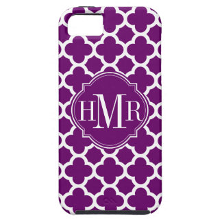 Monograma púrpura y blanco de Quatrefoil del Funda Para iPhone 5 Tough