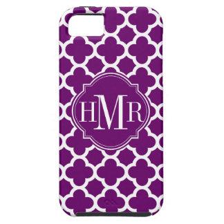 Monograma púrpura y blanco de Quatrefoil del model iPhone 5 Case-Mate Carcasas