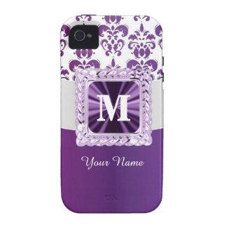 Monograma púrpura y blanco del damasco Case-Mate iPhone 4 funda