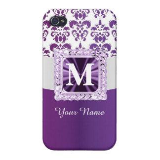 Monograma púrpura y blanco del damasco iPhone 4 carcasa