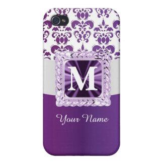 Monograma púrpura y blanco del damasco iPhone 4/4S carcasas