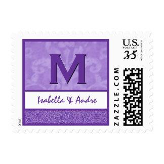 Monograma púrpura y blanco M A217 del damasco Timbres Postales