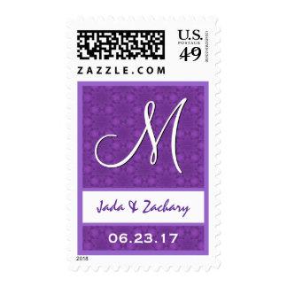 Monograma púrpura y blanco V561 del boda del Estampillas