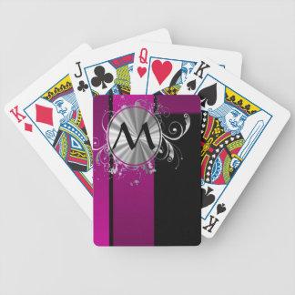 Monograma púrpura y de plata cartas de juego