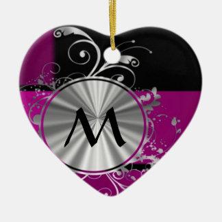Monograma púrpura y de plata adorno de cerámica en forma de corazón