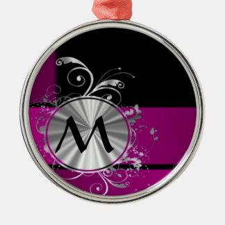 Monograma púrpura y de plata adorno redondo plateado