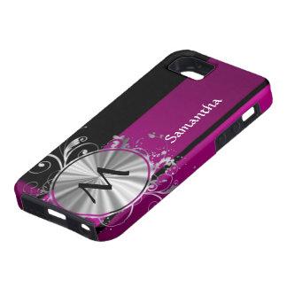 Monograma púrpura y de plata iPhone 5 cárcasas