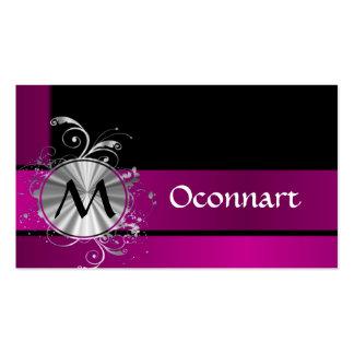 Monograma púrpura y de plata tarjetas de visita