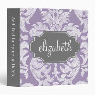 """Monograma púrpura y gris del modelo del damasco carpeta 1 1/2"""""""