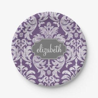 Monograma púrpura y gris del modelo del damasco plato de papel de 7 pulgadas