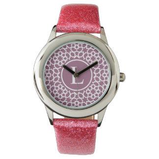Monograma púrpura y mosaico geométrico de arabesco reloj de mano