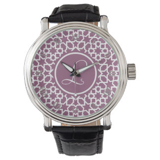 Monograma púrpura y mosaico geométrico de arabesco relojes