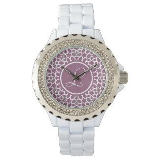 Monograma púrpura y mosaico geométrico de arabesco relojes de pulsera
