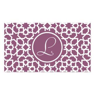 Monograma púrpura y mosaico geométrico de arabesco tarjetas de visita