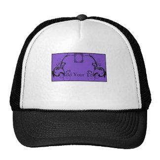 Monograma púrpura y negro afiligranado gorro de camionero