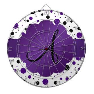 Monograma púrpura y negro de los lunares tablero de dardos