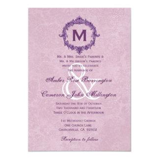 Monograma púrpura y rosado del vintage que casa