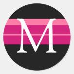 Monograma que casa al pegatina blanco negro rosado