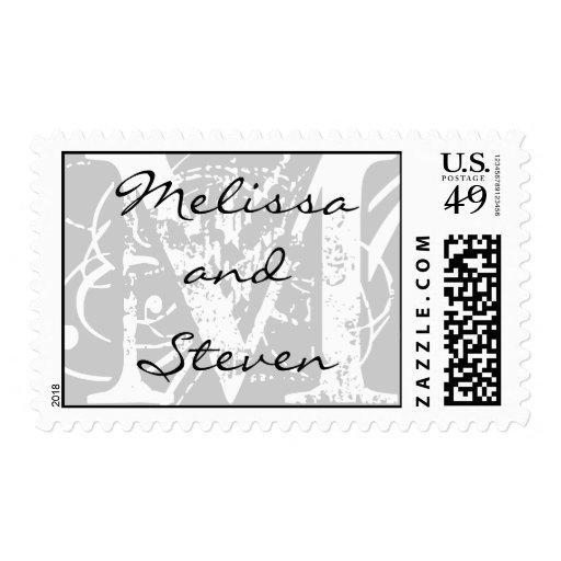 Monograma que casa el sello blanco y negro