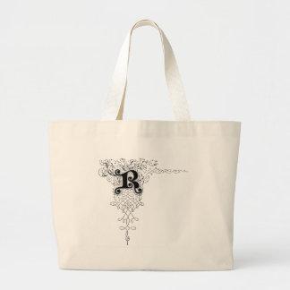 Monograma R con las hojas Bolsas De Mano