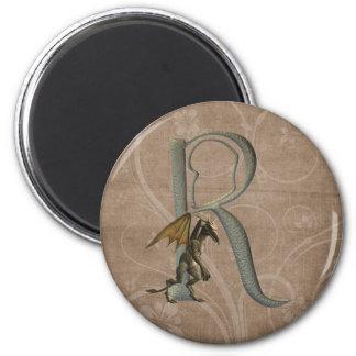 Monograma R de los Gargoyles Imán Redondo 5 Cm