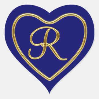 Monograma R en el oro 3D Pegatina En Forma De Corazón