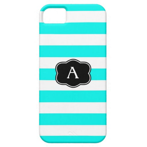 Monograma rayado aguamarina o caso inicial de la iPhone 5 Case-Mate cárcasa