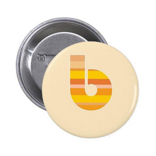 Monograma rayado amarillo - letra B Pin