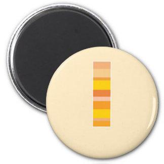 Monograma rayado amarillo - letra L Imán Redondo 5 Cm