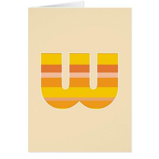 Monograma rayado amarillo - letra W Tarjeta De Felicitación