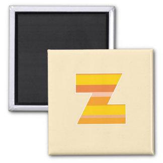 Monograma rayado amarillo - letra Z Imán Cuadrado