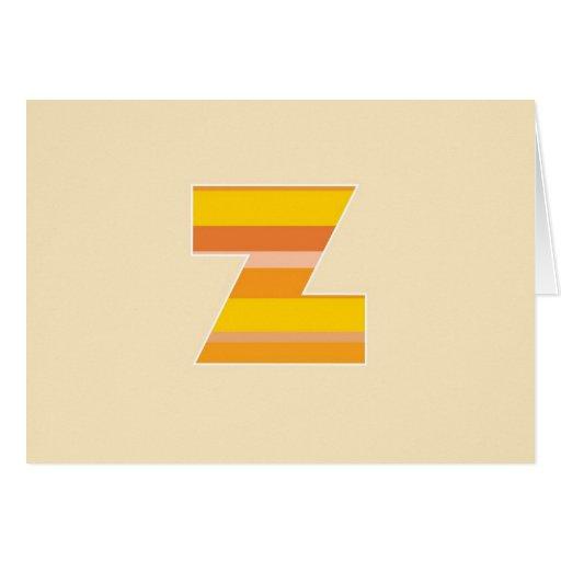 Monograma rayado amarillo - letra Z Tarjeta
