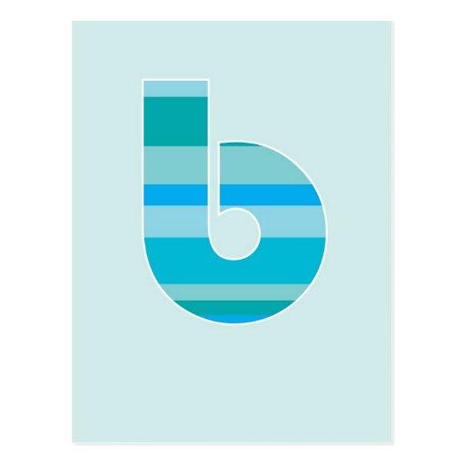 Monograma rayado azul - letra B Postales