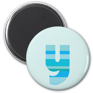 Monograma rayado azul - letra Y Imán Redondo 5 Cm