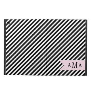 Monograma rayado blanco y negro